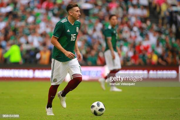 Hector Herrera of Mexico controls the ball during the International Friendly match between Mexico and Scotland at Estadio Azteca on June 2 2018 in...