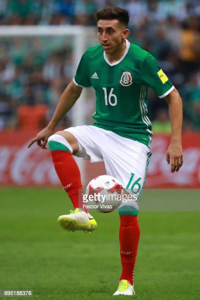 Hector Herrera of Mexico drives the ball during the match between Mexico and The United States as part of the FIFA 2018 World Cup Qualifiers at...