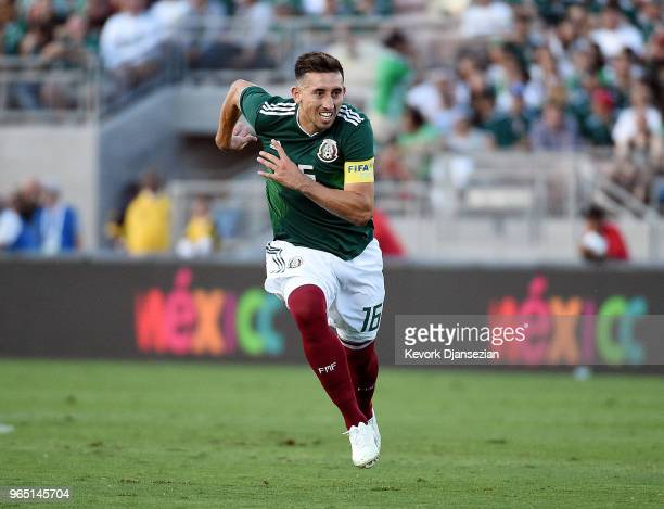 Hector Herrera of Mexico in action against Wales during the second half of their friendly international soccer at the Rose Bowl on May 28 2018 in...