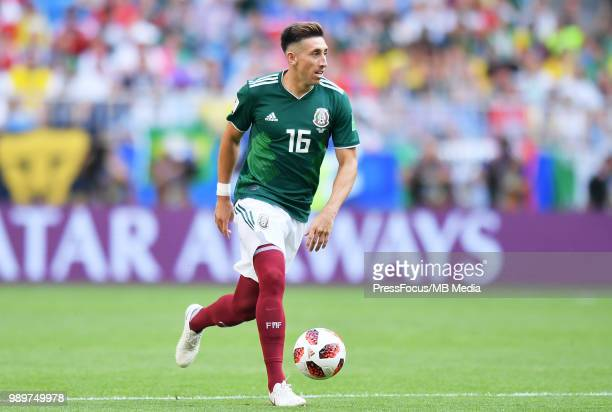 Hector Herrera of Mexico in action during the 2018 FIFA World Cup Russia Round of 16 match between Brazil and Mexico at Samara Arena on July 2 2018...
