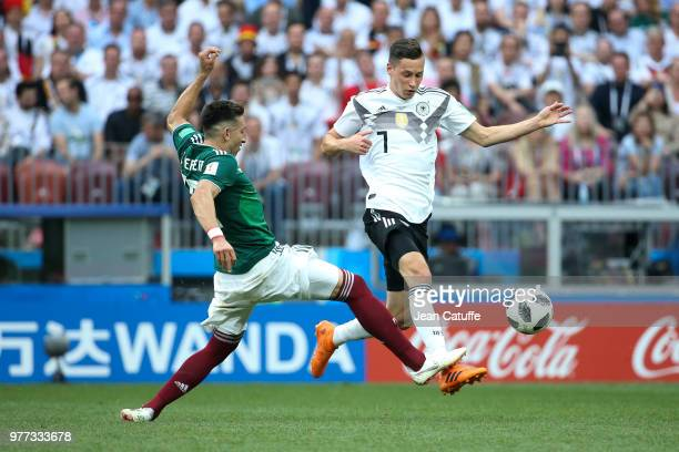 Hector Herrera of Mexico Julian Draxler of Germany during the 2018 FIFA World Cup Russia group F match between Germany and Mexico at Luzhniki Stadium...