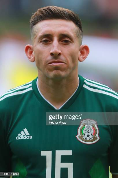 Hector Herrera of Mexico looks on during the International Friendly match between Mexico v Scotland at Estadio Azteca on June 2 2018 in Mexico City...