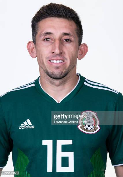 Hector Herrera of Mexico poses for a portrait during the official FIFA World Cup 2018 portrait session at the Team Hotel on June 12 2018 in Moscow...