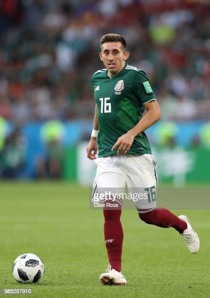 Hector Herrera of Mexico runs with the ball during the 2018 FIFA World Cup Russia group F match between Mexico and Sweden at Ekaterinburg Arena on...