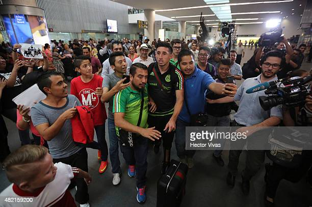 Hector Herrera of Mexico's national team arrives at Internacional Benito Juarez Airport after winning the 2015 CONCACAF Gold Cup on July 27 2015 in...