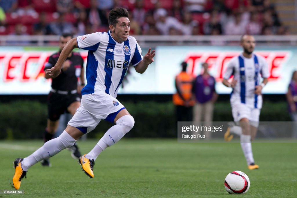 Hector Herrera of Porto runs for the ball during the friendly match between Chivas and Porto at Chivas Stadium on July 19, 2017 in Zapopan, Mexico.