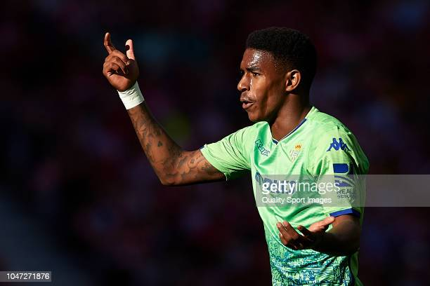 Hector Junior Firpo Adames of Real Betis Balompie reacts during the La Liga match between Club Atletico de Madrid and Real Betis Balompie at Wanda...