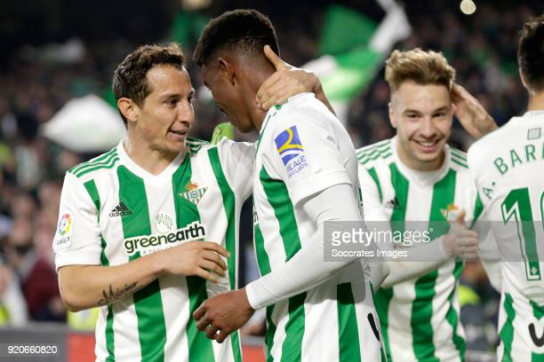 Hector Junior Firpo Adames of Real Betis celebrates 34 with Andres Guardado of Real Betis during the La Liga Santander match between Real Betis...