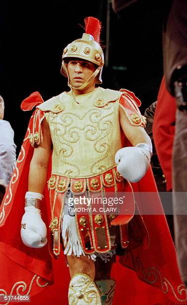 Hector Macho Camacho shows up in the ring in a Roman soldier's uniform before the start of his twelve round IBC Middleweight title fight against...