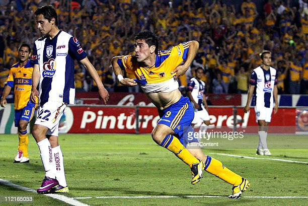 Hector Mancilla of Tigres celebrates a scored goal during a match against Pachuca as part of the Clausura 2011 Tournament in the Mexican Football...