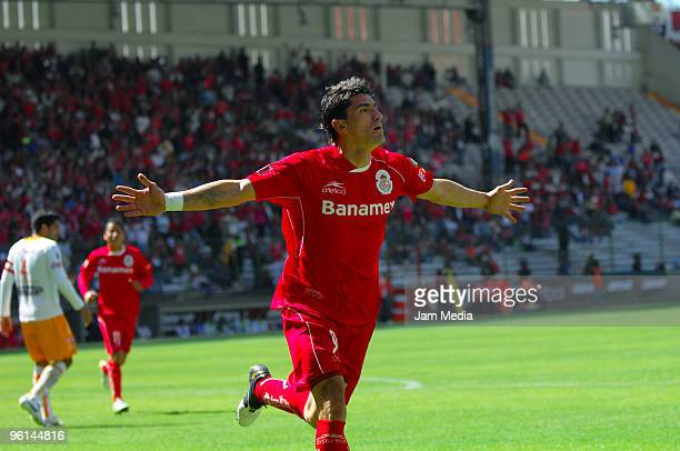 Hector Mancilla of Toluca celebrates scored goal against Jaguares during a match as part of the 2010 Bicentenary Tournament in the Mexican Football...