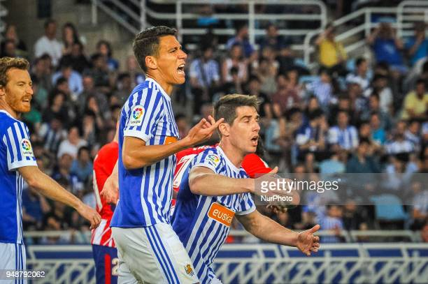 Hector Moreno and Aritz Elustondo of Real Sociedad reacts during the Spanish league football match between Real Sociedad and Atletico Madrid at the...