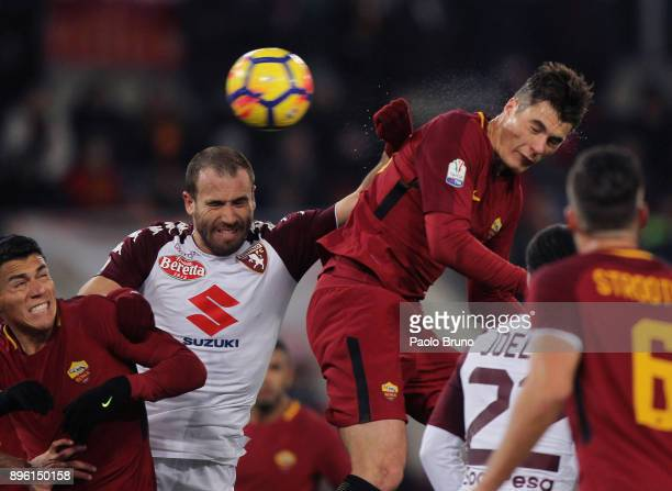 Hector Moreno and Patrck Schick of AS Roma competes for the ball with Lorenzo De Silvestri of Torino FC during the TIM Cup match between AS Roma and...