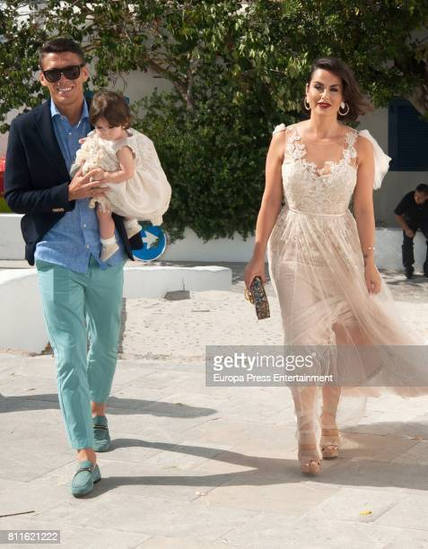 Hector Moreno, Irene Martinez and their daughter Mia attend the wedding of Guillermo Ochoa and Karla Mora on July 8, 2017 in Ibiza, Spain.