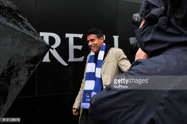Hector Moreno new player of Real Sociedad pose for photographers upon arrival to the facilities of Zubieta in San Sebastian Spain on 1st Febrary 2018