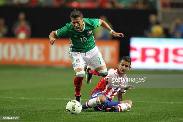 Hector Moreno of Meixco fights for the ball during the international friendly match between Mexico and Paraguay in Giorgia Dome on May 28 2016 in...