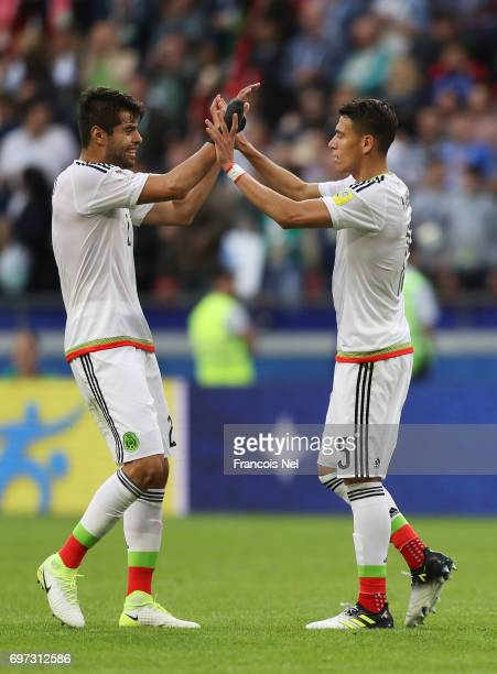 Hector Moreno of Mexico and Nestor Araujo of Mexio celebrate after the FIFA Confederations Cup Russia 2017 Group A match between Portugal and Mexico...