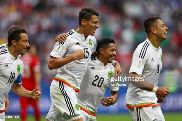 Hector Moreno of Mexico celebrates a disallowed goal with Javier Aquino of Mexico during the FIFA Confederations Cup Russia 2017 Group A match...