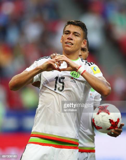 Hector Moreno of Mexico celebrates scoring his sides second goal during the FIFA Confederations Cup Russia 2017 Group A match between Portugal and...