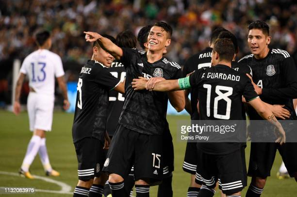 Hector Moreno of Mexico center celebrates after scoring during the International Friendly match between Mexico and Chile at SDCCU Stadium on March 22...