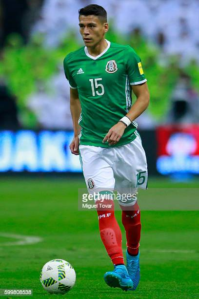 Hector Moreno of Mexico drives the ball during a match between Mexico and Honduras as part of FIFA 2018 World Cup Qualifiers at Azteca Stadium on...