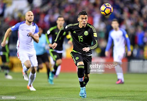 Hector Moreno of Mexico drives the ball past Michael Bradley of the United States in the first half during the FIFA 2018 World Cup Qualifier at...