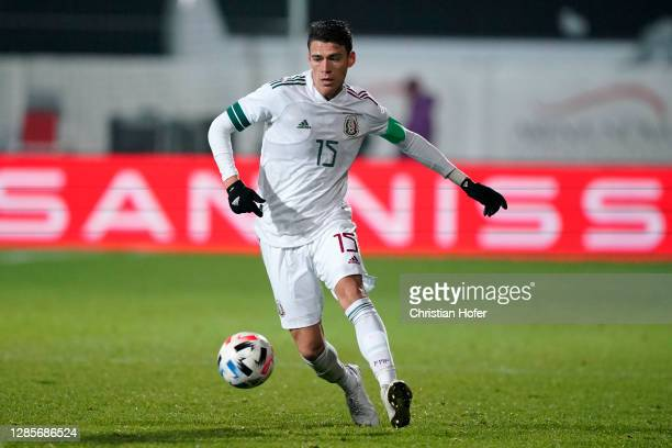 Hector Moreno of Mexico runs with the ball during the international friendly match between Mexico and South Korea at Wiener Neustaedter Stadion on...