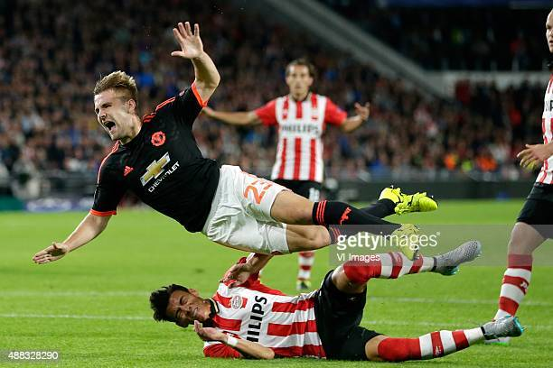 Hector Moreno of PSV Eindhoven Luke Shaw of Manchester United during the UEFA Champions League group B match between PSV Eindhoven and Manchester...