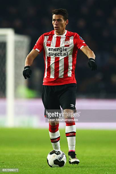 Hector Moreno of PSV in action during the Dutch Eredivisie match between PSV Eindhoven and SC Heerenveen held at Philips Stadion on January 22 2017...