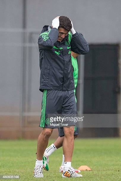 Hector Moreno reacts during a training session of Mexico at Estadio O´ Rei Pele Training Center on June 20 2014 in Santos Brazil Mexico will face...