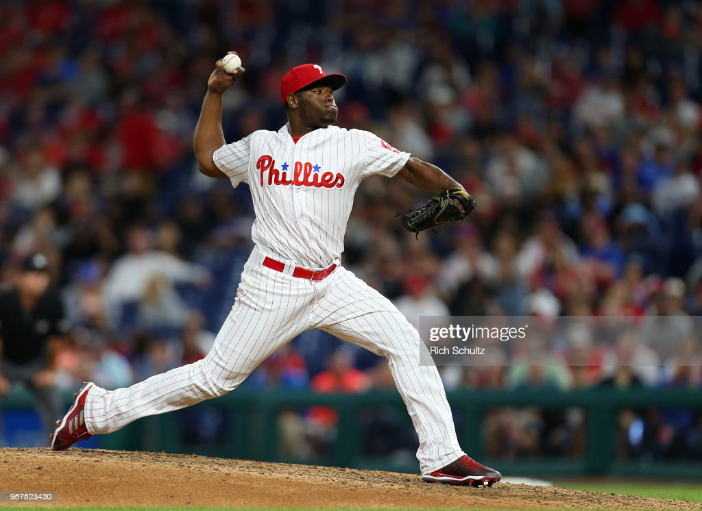 Hector Neris #50 of the Philadelphia Phillies delivers a pitch against the New York Mets during the ninth inning of a game at Citizens Bank Park on May 11, 2018 in Philadelphia, Pennsylvania. Neris gave up back to back home runs to blow the save as the Mets defeated the Phillies 3-2.