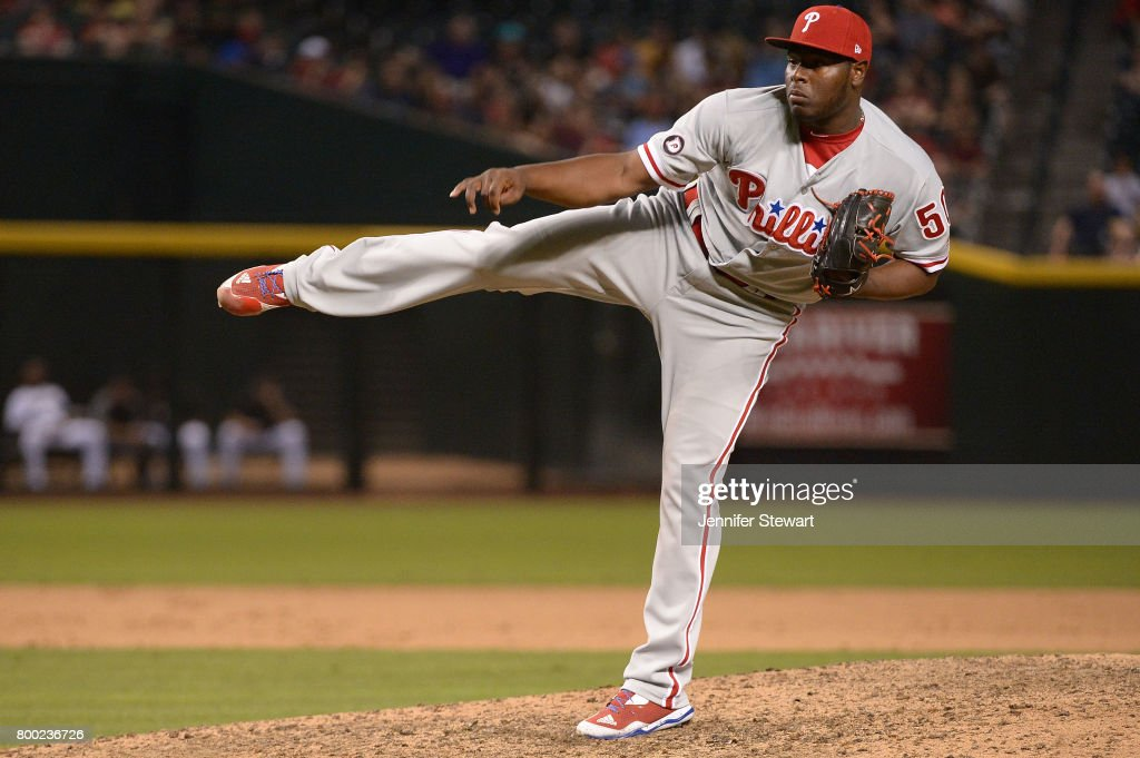 Hector Neris #50 of the Philadelphia Phillies delivers a pitch during the ninth inning of the MLB game against the Arizona Diamondbacks at Chase Field on June 23, 2017 in Phoenix, Arizona. The Philadelphia Phillies won 6-1.