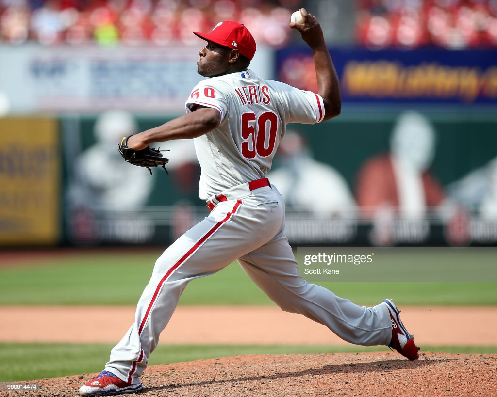 Hector Neris #50 of the Philadelphia Phillies pitches during the eighth inning against the St. Louis Cardinals at Busch Stadium on May 20, 2018 in St. Louis, Missouri.