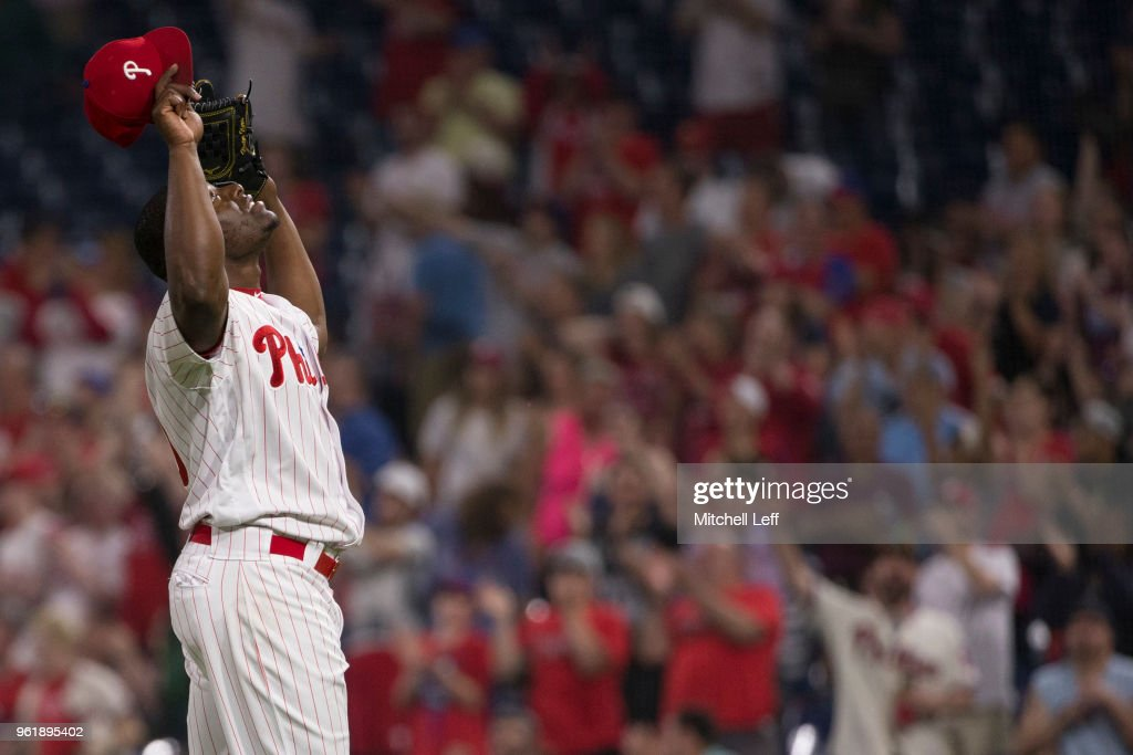 Hector Neris #50 of the Philadelphia Phillies reacts after the game against the Atlanta Braves at Citizens Bank Park on May 23, 2018 in Philadelphia, Pennsylvania. The Phillies defeated the Braves 4-0.