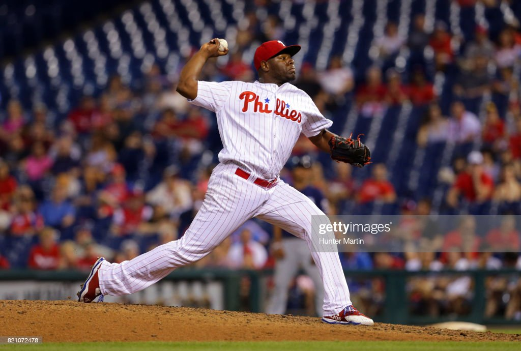 Hector Neris #50 of the Philadelphia Phillies throws a pitch in the ninth inning during a game against the Milwaukee Brewers at Citizens Bank Park on July 22, 2017 in Philadelphia, Pennsylvania. The Brewers won 9-8.