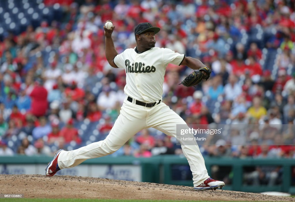 Hector Neris #50 of the Philadelphia Phillies throws a pitch in the ninth inning during a game against the Toronto Blue Jays at Citizens Bank Park on May 27, 2018 in Philadelphia, Pennsylvania. The Blue Jays won 5-3.