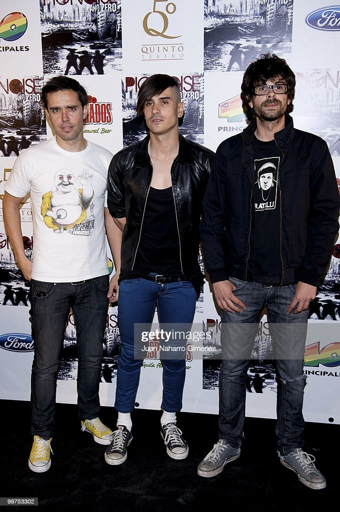Hector Polo, Alvaro Benito and Pablo Alonso of the group Pignoise attend their new album 'Ano zero' presentation at Teatro Quinto on May 17, 2010 in Madrid, Spain.