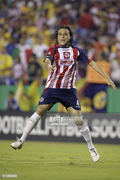 Hector Reynoso of Chivas de Guadalajara paces the play against Club América during the Mexican First Division Clásico Nacional match at Arrowhead...
