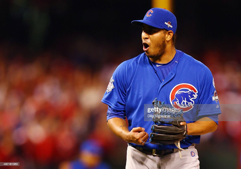 Hector Rondon #56 of the Chicago Cubs celebrates defeating the St. Louis Cardinals in game two of the National League Division Series at Busch Stadium on October 10, 2015 in St Louis, Missouri. The Chicago Cubs defeat the St. Louis Cardinals with a score of 6 to 3.