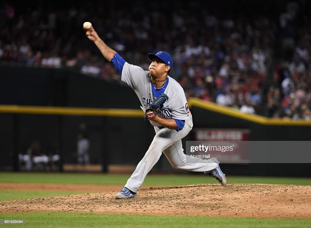 Hector Rondon #56 of the Chicago Cubs delivers a pitch against the Arizona Diamondbacks at Chase Field on August 12, 2017 in Phoenix, Arizona.