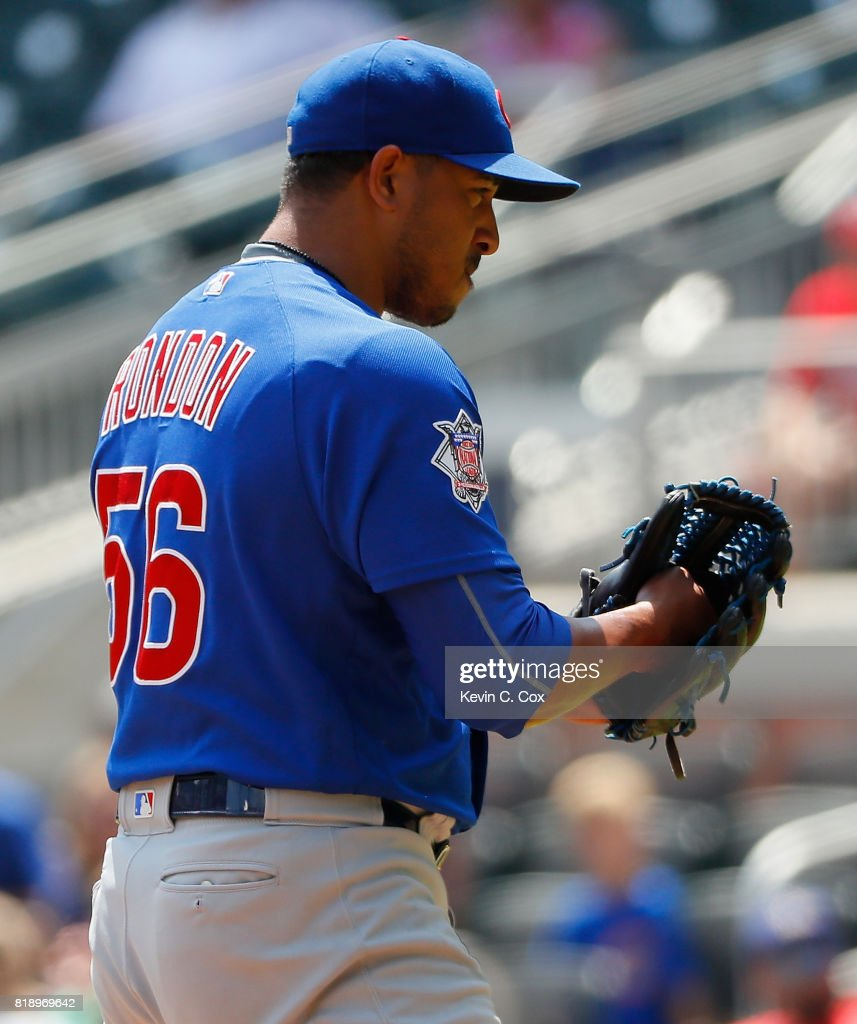 Hector Rondon #56 of the Chicago Cubs reacts after their 8-2 win over the Atlanta Braves at SunTrust Park on July 19, 2017 in Atlanta, Georgia.