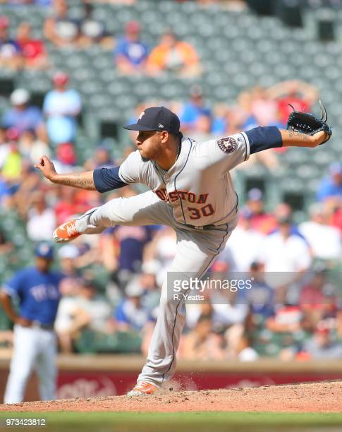 Hector Rondon of the Houston Astros throws in the ninth inning against the Texas Rangers at Globe Life Park in Arlington on June 10 2018 in Arlington...