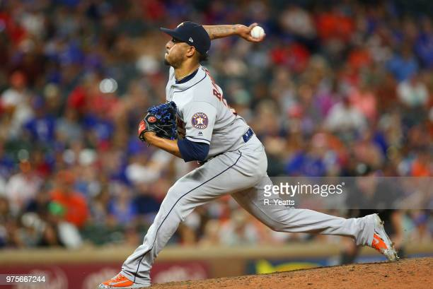 Hector Rondon of the Houston Astros throws in the ninth inning against the Texas Rangers at Globe Life Park in Arlington on June 9 2018 in Arlington...