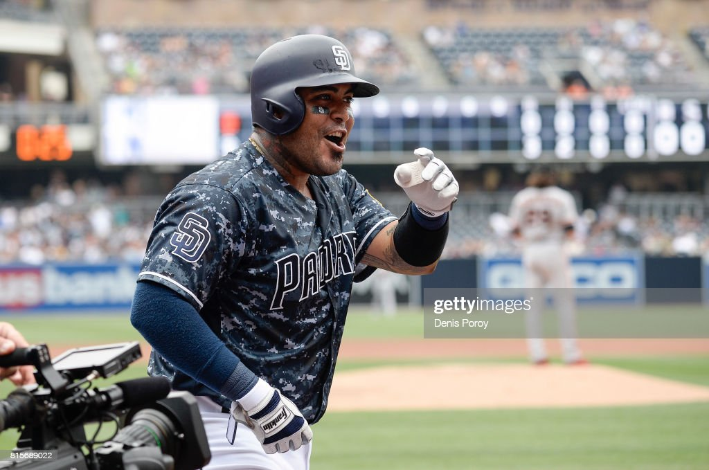 Hector Sanchez #44 of the San Diego Padres celebrates after hitting a three run home run during the first inning of a baseball game against the San Francisco Giants at PETCO Park on July 16, 2017 in San Diego, California.