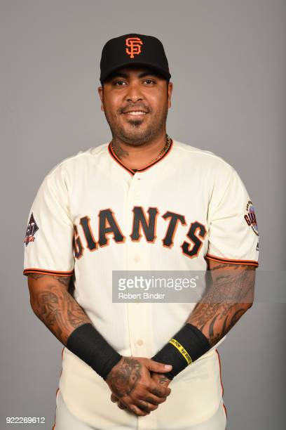 Hector Sanchez of the San Francisco Giants poses during Photo Day on Tuesday February 20 2018 at Scottsdale Stadium in Scottsdale Arizona