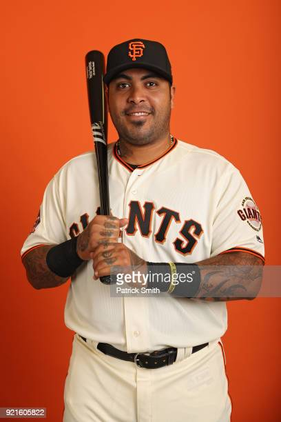 Hector Sanchez of the San Francisco Giants poses on photo day during MLB Spring Training at Scottsdale Stadium on February 20 2018 in Scottsdale...