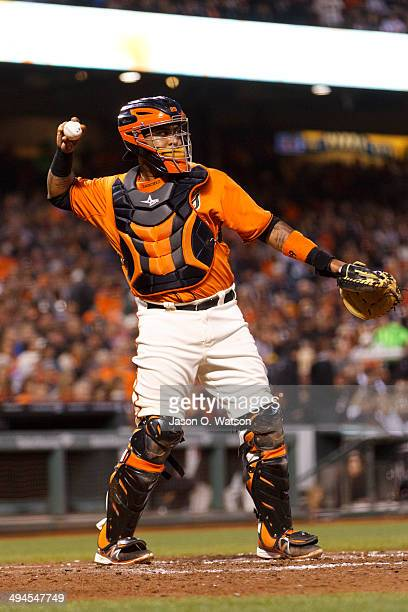 Hector Sanchez of the San Francisco Giants throws a ball back to the pitchers mound against the Minnesota Twins during the fourth inning at ATT Park...
