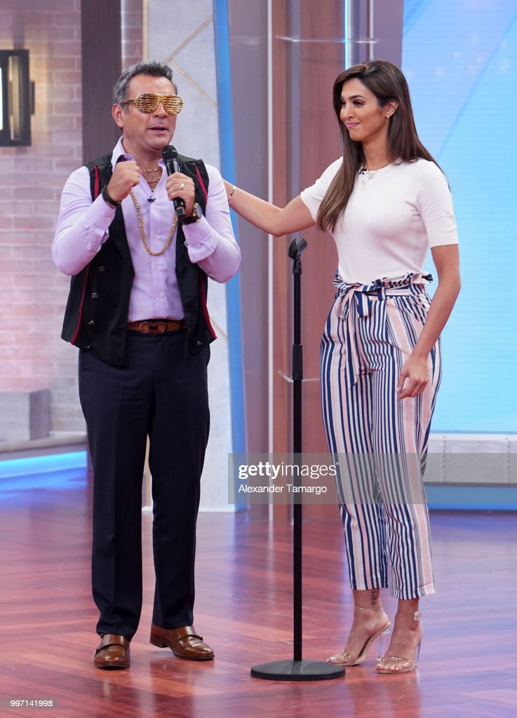 Hector Sandarti and Erika Csizer are seen on the set of 'Un Nuevo Dia' at Telemundo Center to promote the show 'La Voz' on July 12, 2018 in Miami, Florida.