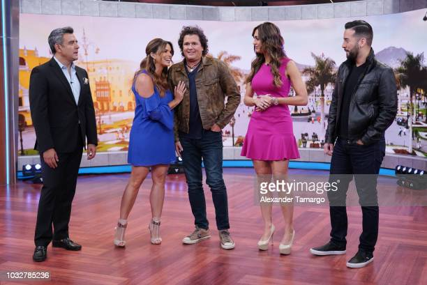 Hector Sandarti Rashel Diaz Carlos Vives Erika Csiszer and Francisco Caceres are seen on the set of Un Nuevo Dia at Telemundo Center to announce that...