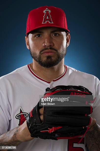 Hector Santiago of the Los Angeles Angels of Anaheim poses for a portrait during photo day at spring training on February 26 2016 at Tempe Diablo...